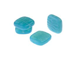 5 Czech Glass Beads Turquoise Flat Square 16mm