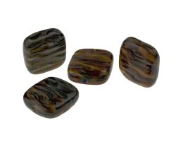 5 Czech Glass Beads Brown Rippled Flat Square 16mm