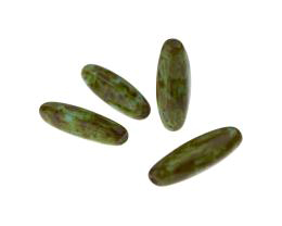 5 Czech Glass Beads Green Pressed Oval Tubes 22mm