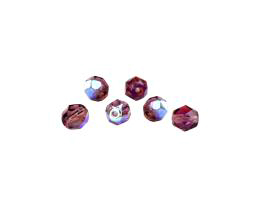 20 Czech Glass Beads Amethyst Fire Polished AB 6mm