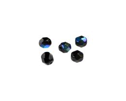 20 Czech Glass Beads Black Fire Polish AB Bead 6mm