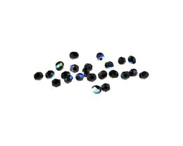 25 Czech Glass Beads Black Fire Polish Round AB 3mm