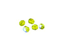 20 Czech Glass Beads Olivine Fire Polished AB 6mm