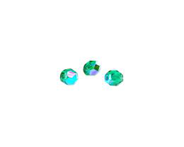 20 Czech Glass Beads Emerald Fire Polished AB 6mm