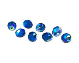 10 Czech Glass Beads Aqua Fire Polished AB 8mm