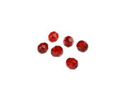 50 Czech Glass Beads Siam Fire Polished Bead 5mm