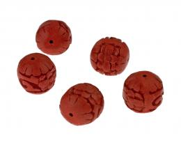 1 Lacquered Beads Carved Chinese Red Barrels 14mm
