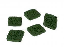 1 Lacquered Beads Chinese Jade Green Diamond 17mm