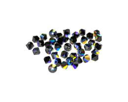 24 Preciosa Crystal Beads Black Bicone Bead AB 4mm