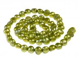 10 Freshwater Pearl Beads Lime Green 6mm to 7mm