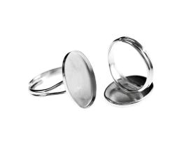 1 Adjustable Ring Blank Silver Cabochon Rings 19mm