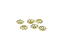 50 Bead Caps Gold Plated Flower Bead Cap 8mm