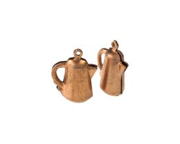 1 Vintage Metal Charms Copper Plated Coffee Pot 20mm