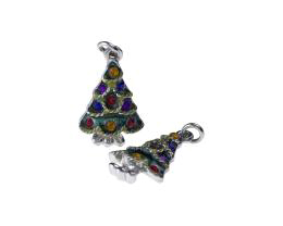 1 Metal Christmas Charms Enamel Xmas Tree Charms 24mm