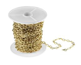 1m Gold Plated Cable Chain Open Link 4mm x 6mm