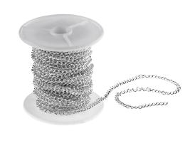 1m Silver Plated Curb Chain Open 3.5mm x 5mm