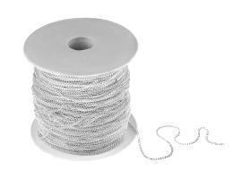 1m Silver Plated Curb Chain Open 1.25mm x 1.5mm