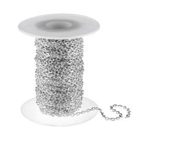 1m Silver Plated Cable Chain Textured 3mm x 4.4mm