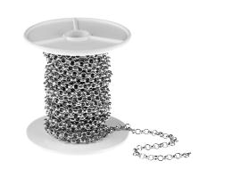 1m Antique Silver Rolo Chain Open 3.8mm