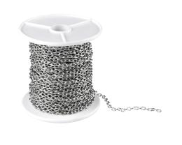 1m Antique Silver Cable Chain Textured Trace 2.7mm