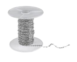 1m Silver Plated Cable Chain Flat Link 1.8mm