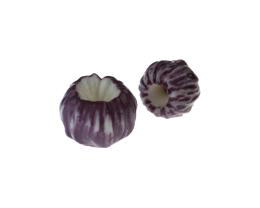 1 Handmade Porcelain Beads Purple Buds 17mm x 20mm