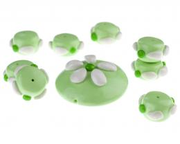 9 Handmade Polymer Clay Beads Spring Green Fresh