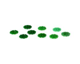 10 Vintage Acrylic Embellishments Green Flower 7mm