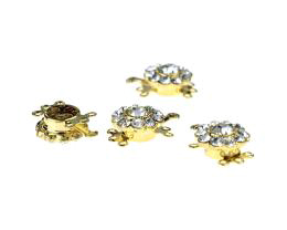 1 Box Clasps Gold Plated Diamante Clasp 15mm