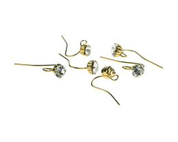 2 Hook Earwires Gold Plated Diamante Loop 12mm