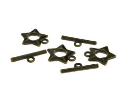 1 Toggle Clasps Bronze Star Ring Bar Clasp 16mm