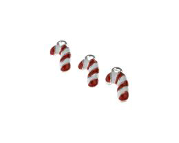 1 Metal Christmas Charms Enamel Candy Cane Charms 18mm
