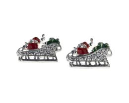 1 Metal Christmas Charms Enamel Sleigh Charms 19mm