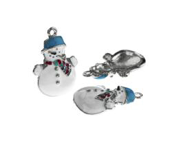 1 Metal Christmas Charms Enamel Snowman Charms 25mm