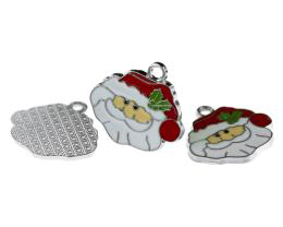 1 Metal Christmas Charms Enamel Santa Charms 23mm