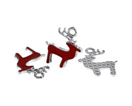 1 Metal Christmas Charms Enamel Reindeer 23mm