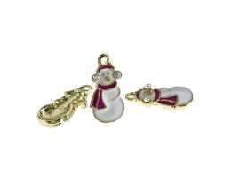 1 Metal Christmas Charms Enamel Snowman 20mm