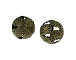 1 Metal Beads Bronze Filigree Flower Bead 20mm