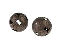 1 Metal Beads Antique Copper Filigree Flower 20mm