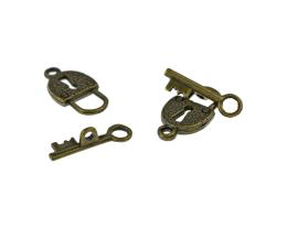 1 Toggle Clasps Bronze Lock And Key Clasp 21mm