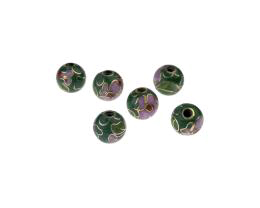 1 Vintage Metal Beads Cloisonne Green Floral 7.5mm
