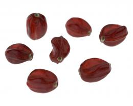 10 Glass Beads Siam Red Twisted Nugget Bead 15mm