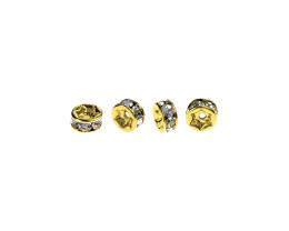 1 Metal Beads Gold Crystal Rondelle Spacer 7mm