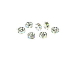 1 Metal Beads Silver Crystal Rondelle Spacer 3mm