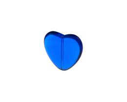 1 Czech Glass Beads Blue Flat Heart Bead 24mm