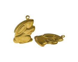 1 Metal Easter Charms Brass Easter Rabbit Charms 24mm