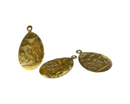 1 Metal Easter Charms Brass Easter Egg Charms 23mm