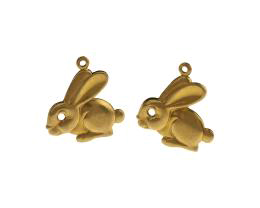 1 Metal Easter Charms Brass Rabbit Charms 21mm