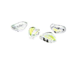 10 Czech Glass Beads Clear Aurora Borealis Leaf 14mm