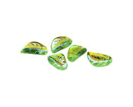 10 Czech Glass Beads Peridot Green Leaf Bead 14mm